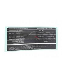 R35 GT-R Nissan OEM Emissions Control Label 2012