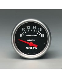 R33 AutoMeter Sport-Comp II Electronic Voltmeter Gauge 8-18 Volts - 52mm