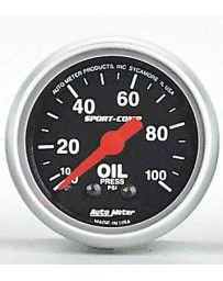 R33 AutoMeter Sport-Comp Mechanical Oil Pressure Gauge 100 PSI - 52mm