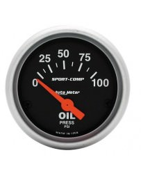 R33 AutoMeter Sport-Comp Electronic Oil Pressure Gauge 100 PSI - 52mm