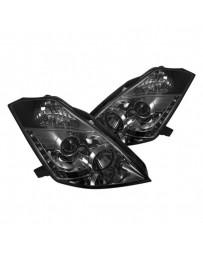350z DE 2003-2005 Spyder Projector Headlights Xenon HID DRL Smke Low D2R PRO-YD-N350Z02-HID-DRL-SM