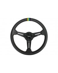370z Greddy x Ken Gushi KG21 Racing Steering Wheel Black with Yellow, Teal & Navy Stitching & Center Stripe, 3 Spoke