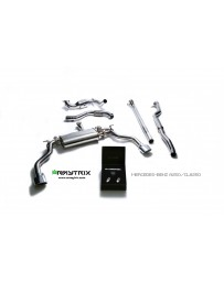 ARMYTRIX Stainless Steel Valvetronic Catback Exhaust System Dual Chrome Silver Tips Mercedes-Benz CLA-Class C117 14-17
