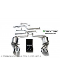 ARMYTRIX Stainless Steel Valvetronic Performance Catback Exhaust Quad Matte Black Tips Mercedes Benz C-Class W204 12-15