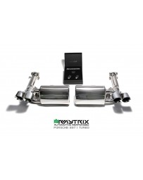 ARMYTRIX Stainless Steel Valvetronic Exhaust System Quad Titanium Blue Tips Porsche 997 Turbo 07-09