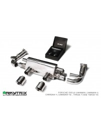 ARMYTRIX Stainless Steel Sport Valvetronic Exhaust System Dual Matte Black Silver Tips Porsche 991.2 Carrera 17-18