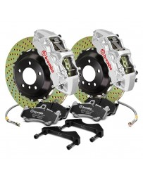 R34 Brembo GT Series Cross Drilled 2-Piece Rotor Front Big Brake Kit - Silver