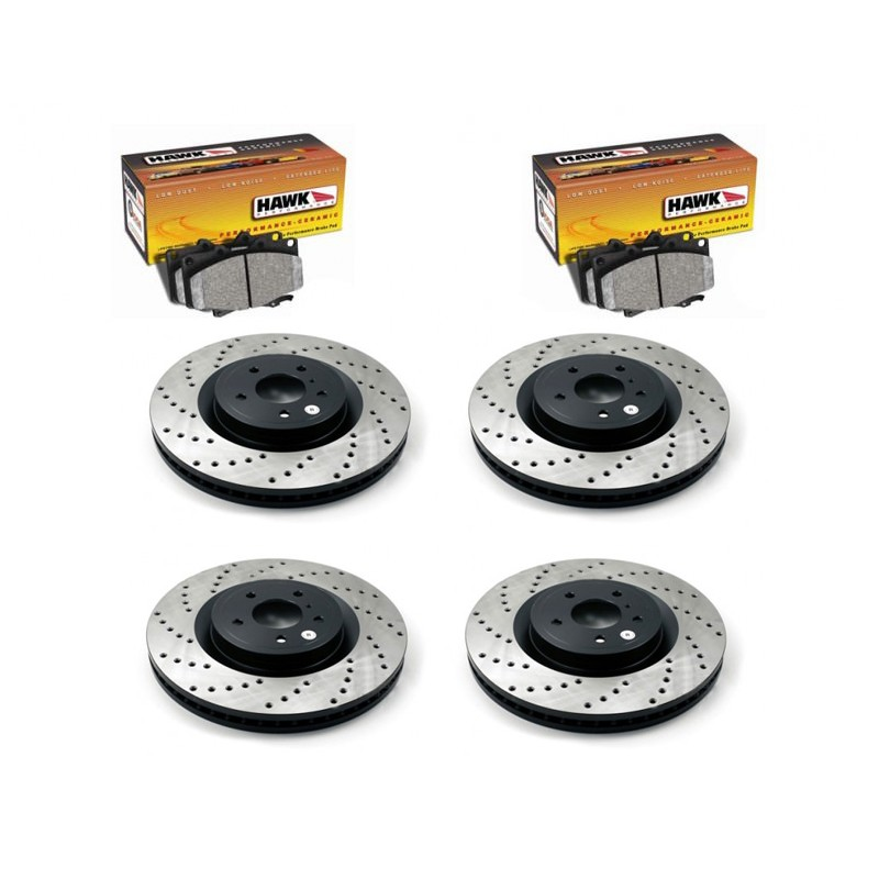 350z StopTech Discs & Hawk Performance Ceramic pads Pads kit for Brembo brakes - DRILLED