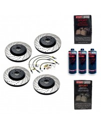 370z StopTech F+R Brake Discs Pads Lines and Fluid Pack - Slotted & Drilled - Akebono
