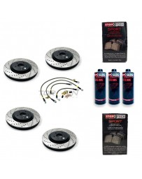 370z StopTech F+R Brake Discs Pads Lines and Fluid Pack - Drilled - Akebono