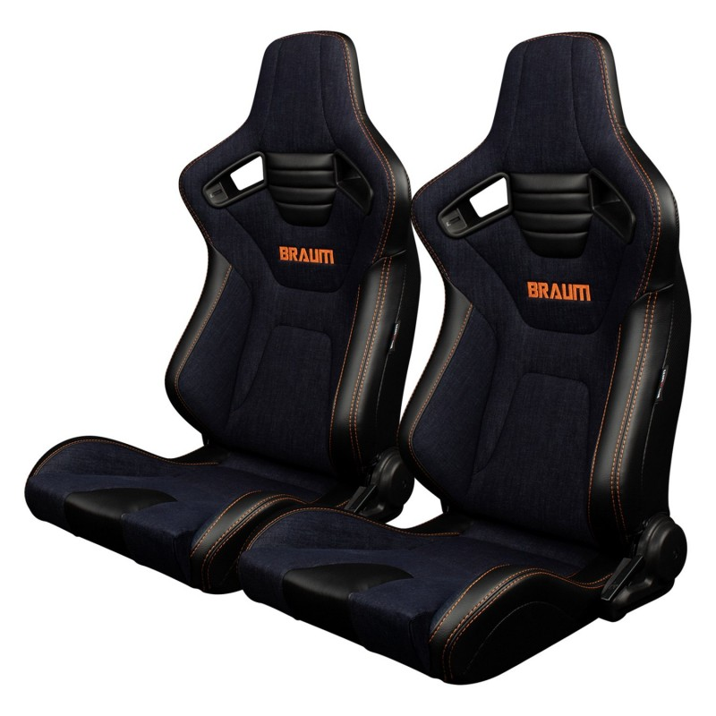 BRAUM ELITE-X SERIES RACING SEATS (NAVY DENIM - ORANGE STITCHING) – PAIR