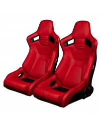 BRAUM ELITE-R SERIES RACING SEATS ( RED LEATHERETTE | BLACK PIPING ) – PAIR