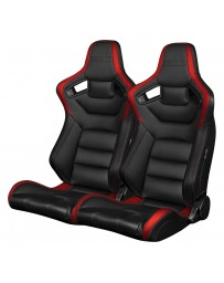 BRAUM ELITE SERIES RACING SEATS (BLACK & RED) – PAIR