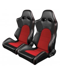 BRAUM ADVAN SERIES RACING SEATS (BLACK & RED) – PAIR