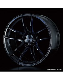 WedsSport RN-55M 18x10 5x114.3 ET18 Wheel- Black with Blue Machining