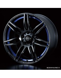 WedsSport SA-77R 18x7.5 5x114.3 ET35 Wheel- Blue Light Chrome Black