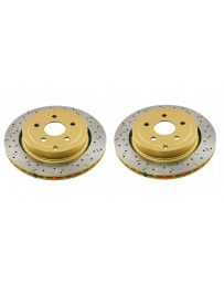 Toyota GT86 DBA 4000 Serieis Discs - Rear pair - DRILLED & SLOTED with Black Hat