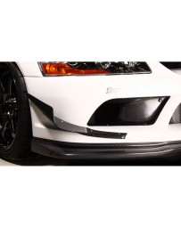 Varis Carbon Front Bumper Canard Single Mitsubishi EVO CT9A '09 Ver 06-07