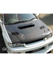 ChargeSpeed Carbon OEM Hood Japanese CFRP (Not Street Legal) Hood Pin Required Subaru Impreza WRX GC-8 95-01